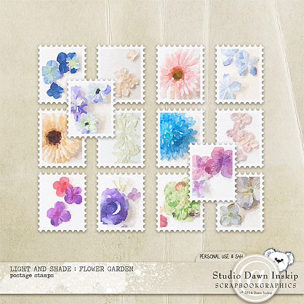 Light and Shade : Flower Gardeb Postage Stamps