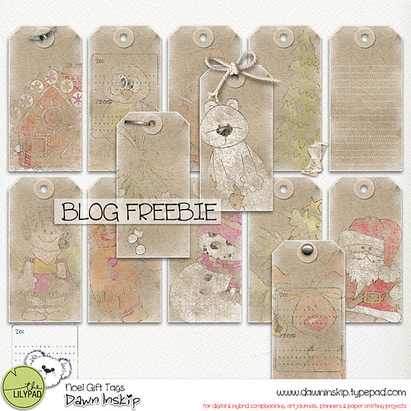 Noel Gift Tags Blog Freebie